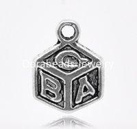 abc dice - Silver Tone quot ABC quot Dice Charm Pendants x10mm B14056