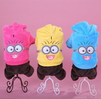 pet dog clothing - 2015 New Design Winter Cotton Clothing For The Small Dogs Minions Hoodies Overall Pet Coats Despicable Me Puppy Clothes NO A piece