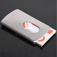 Wholesale Fashion Hot Business Card Holder Women Vogue Thumb Slide Out Stainless Steel Pocket ID Credit Card Holder Case