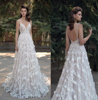 Wholesale 3d floral appliques princess A line wedding dresses berta bridal sequin lace beaded spagetti sweathear neckline backless wedding gowns