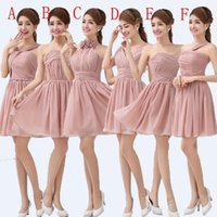 Cheap New Chiffon Short Bridesmaid Dress 2015 Fashionable Ball Gown Sweetheart Ruched Women Dress To Party 6 style A-F