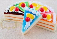 Wholesale 15cm slow rising cake squishy Fridge Magnets Simulation Triangle mousse cake colorful MIX COLORS ORDER
