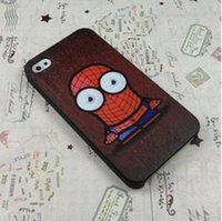 al por mayor el hombre araña teléfono móvil-Caja del teléfono de moda al por mayor de la historieta del hombre araña de diseño de plástico duro móvil para el iPhone 4 4S 5 5S 5C