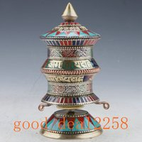 art rubies - Old Tibet Nepal gilt brass inlaid turquoise ruby rotation Scriptures