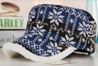 Ball Cap baseball cap knitting pattern - Printed Pattern Flat Top Cap Wool Knitted Baseball Cap