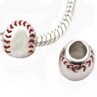 baseball slider charm - Rhodium plating red enaemel baseball Sports metal slider bead European spacer charm fit Pandora Chamilia Biagi charm bracelet