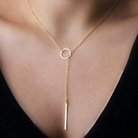 Wholesale 18K rose gold plated chain necklace extreme simplicity simple metal ring short necklace necklace Valentine s Day gift to send his girlfriend