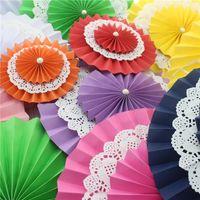 Wholesale 50pcs inch cm Backdrop Hanging Paper Fans Decoration Vintage Collection Flower Fan Birthday Party Decoration