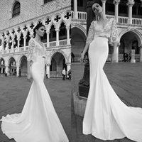 bell formal dress - 2016 Spring Wedding Dresses Custom Made Two Pieces Bridal Gowns V Neck Illusion Luxury Crop Top Sheer Bell Sleeves Mermaid Formal Wear