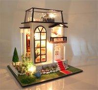 Montaje de casa de muñecas de madera de DIY / Prince Rose miniaturas de casa de muñecas con muebles LED de luz niños regalo del amante juguetes