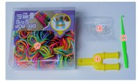 Wholesale Newest Gift boa packaging DIY Rainbow loom Bands kit rainbow loom DIY rubber wrist bands bracelets Best gift for Children DHL