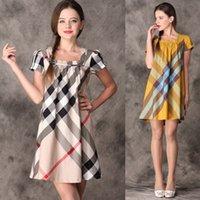 short sleeve dress - 2015 New High Quality Women Dresses Top Fashion Brand Name Designer Women s Dress Summer New Plaid Casual Dress Short Sleeve Dress Q131