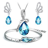 Wholesale FASHION JEWELRY Angel Tears Austrian crystal jewelry sets for women girls High quality necklace bracelet earrings pieces set