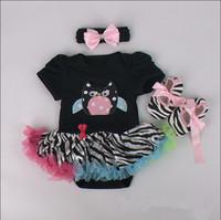 Cheap Baby Romper christmas kids Jumpsuit Xmas cartoon tutu skirt Headbands+shoes Infant Girls Climb Clothes Newborn Romper Dress Sets for 0-12M