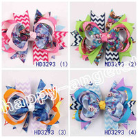 alligator clips - 20pcs inch Frozen hair accessories Bow Baby Hairbows Grosgrain Ribbon Boutique bows WITH Alligator CLIP frozen ribbon bows HD3293