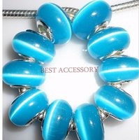 Wholesale Opal Cats Eye Large Hole Stone Charm Beads mm Lake Blue Big Hole Spacer Beads Fit European Jewelry Craft Making