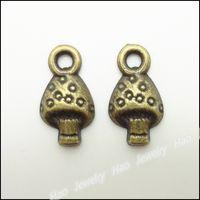 Wholesale 300pcs Vintage Charms Mushrooms Pendant Antique bronze Zinc Alloy Fit Bracelet Necklace DIY Metal Jewelry Findings