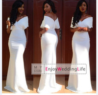 white evening - 2015 Evening Dresses Satin Mermaid New Sexy White Off The Shoulder Floor Length Prom Dresses bo0418