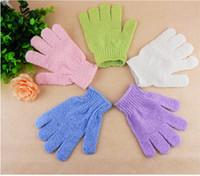 Wholesale 100 Bathing Shower Gloves Massage Gloves Cleaning Towel Exfoliating Bath Glove Five fingers Bath Gloves