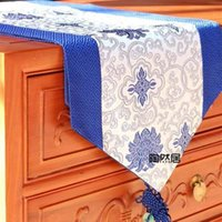 beautiful table runners - beautiful CHINESE blue and white porcelain Handmade SILK TABLE RUNNER CLOTH BED FLAG
