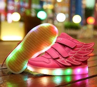red wing shoes - Boys Girls Led Light Wings Shoes for Children Fashion Kids Usb Charging Luminous Sneakers Autumn Winter Glowing Shoes S1176