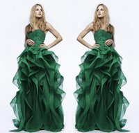 green wedding dress - 2015 Formal Evening Dresses Green Ruffles Ball Gown Lace Appliques Beads Crystal Birthday Bridesmaid Wedding Party Gowns Arabic Custom Made