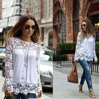 long sleeve - 2015 Spring Ladies Floral Full Sleeve Chiffon Blouse Lace Top Shirt Blouse Women Clothing Plus size