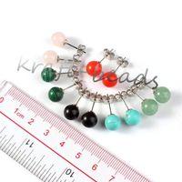 aventurine earrings - Pair Silver Plated Rose Quartz Green Aventurine Red Jade Stone Round Beads Dangle Hook Stud Earring Women Jewelry