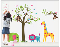 wall tile - Wall Stickers Sweet Creative Children Room Sticker Removable Cute Home Decor PVC Colorful Wall Decal New Cartoon Zoo Pattern Sticker Poster
