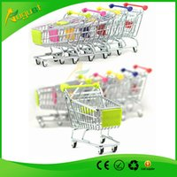 Wholesale Novelty Cute Cart Mobile Phone Holder delicate Pen Holder Mini Supermarket office Handcart Shopping Utility Cart Phone Holder