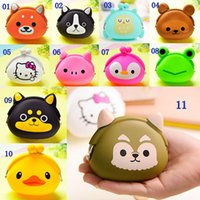 Wholesale New Lovely Kawaii Cartoon Coin Purse Animal Women Girls Mini Wallet Multicolor Jelly Silicone Candy Color Designer Change Bag Kid Gift