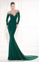 Cheap 2015 Evening Dresses Stretch Satin Long Sleeve Sweep Train V Neck Beading Crystals Sheath Invisible Neck Formal Prom Dresse Tarik Ediz 92480