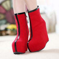 Wholesale Fashion Women Martin Boots Zipper Side Platform Round Toes High Covered Heel Trendy Ladies Streets Shoes