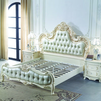 Wholesale European style Luxury Leather Bed m Double French Bed wood Bed marriage Bed simple European prince