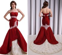Trumpet/Mermaid Reference Images 2016 Spring Summer Best Selling Burgundy Lace Applique Mermaid Sexy Wedding Dresses Sweetheart Neckline Sweep Train Long Sexy Bridal Gowns Exquisite Vestidos