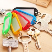 Wholesale 30pcs Coloured Plastic Key Fobs Luggage ID Tags Labels Keyrings with Name Cards EC104