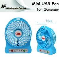 Wholesale 2015 USB Mini Fan F95B Summer Fan with Rechargeable Lithium Battery LED Lamp multi colors Cooling Fan