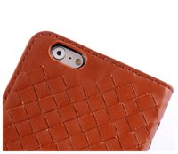 Cheap Wholesale Best Selling Luxury Handcraft Rollover Weave Leather Case For IPhone 6 Plus 5.5 Inch Cheap Cover Cell Phone Cases Accessory Brown