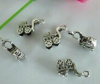 Cheap Hot ! 100pcs Antique Silver 3D Baby carriages Charm pendants DIY Jewelry 15 x 8 mm (mm13)