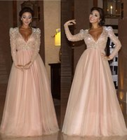 arts listings - Myriam Fares Prom Dresses Crystal Beading Long Sleeves Sexy V Neck Zip Back Tulle Formal Evening Gowns New Listing