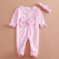 Wholesale Baby Onesies Infant Flower Headbands Newborn Jumpsuit Autumn Lace Rompers For Babies Girl Dress Children Clothes Kids Clothing