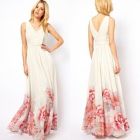 Wholesale 2015 new fashion women print Aestheticism maxi dresses sexy V Neck sleeveless loose chiffon long dress plus size hot sale