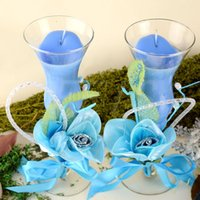 craft candle - 2pcs set Garden Glass Blue jelly crystal craft valentine s Day candle Candlelight wedding gifts candle Home decorative FEIS