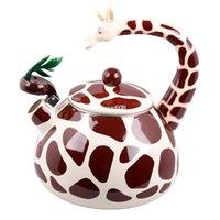 Clear View enamel teapot - Best Enamel Giraffe Kettle L Porcelain Enamel Teapot Kettle Whistle Kettle Enamelware Drop Shipping