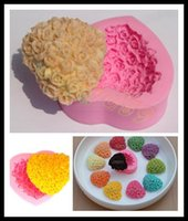 fondant roses - free ship love rose heart silicone baking tools chocolate mold muffin candy jelly tray makers fondant cake baking moulds Valentine Day gift
