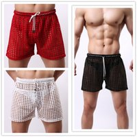 mens sleepwear - Men s Shorts Summer Mens Sleep Bottoms Hollow Out Mesh Mens Sleepwear Shorts Casual Leisure Home Wear