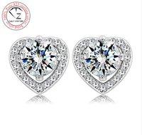 genuine diamond earrings - Genuine Pure Sterling Silver Wedding earring Imitated Diamond Cubic Zirconia S925 Stud Earrings For Women Jewelry DM065