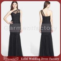 amsale evening dresses - amsale one shoulder bridesmaid dresses mermaid sheer strap ruched bodice zipper back black tulle vintage formal dresses evening
