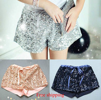 Wholesale 2015 New girls sequins shorts children shorts bling bling hot pants Bow princess mini shorts Children s clothing pc