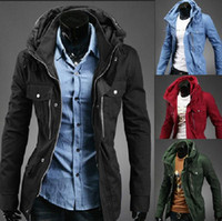 zipper hooded jacket - Cotton Hooded Long Sleeve Zipper Plain Mens Jackets